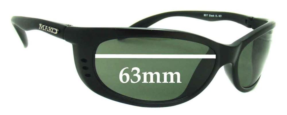 SFX Replacement Sunglass Lenses fits Mako Sleek XL 9517 63mm Wide