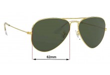 Sunglass Fix Sunglass Replacement Lenses for Ray Ban Aviator Large Metal II RB3026 - 62mm Wide