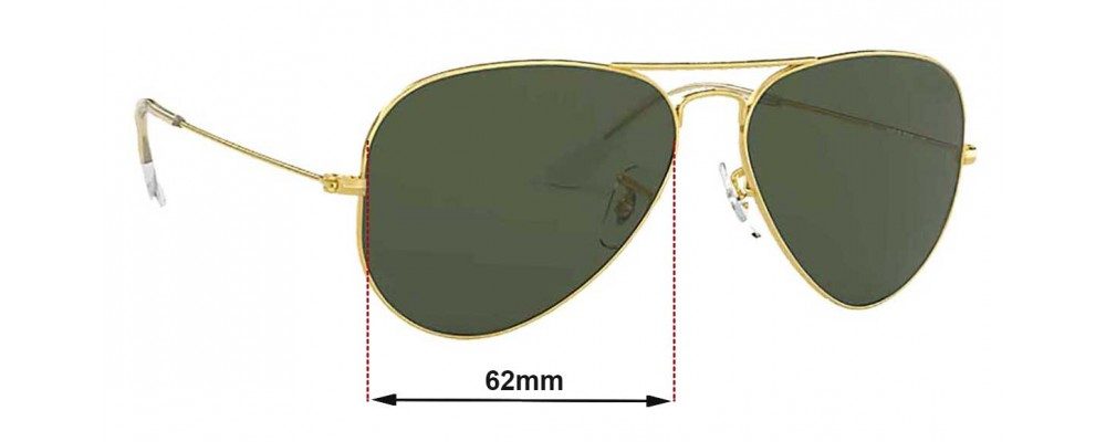 49990ce4fd2 Ray Ban Aviators Large Metal RB3025 Sunglass Replacement Lenses - 62mm  across