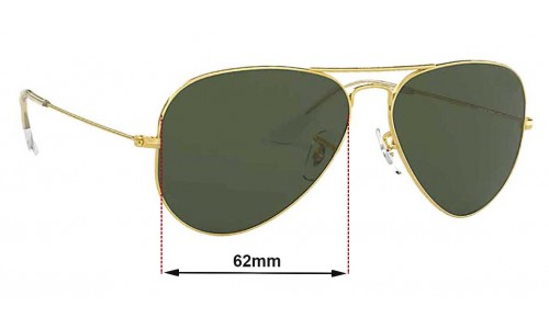 Sunglass Fix Sunglass Replacement Lenses for Ray Ban Aviator Large Metal RB3025 - 62mm Wide