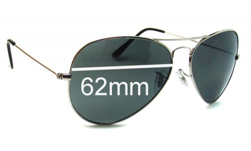 Sunglass Fix Sunglass Replacement Lenses for Ray Ban Aviators RB3026 Italy - 62mm across - NOT Large Metal