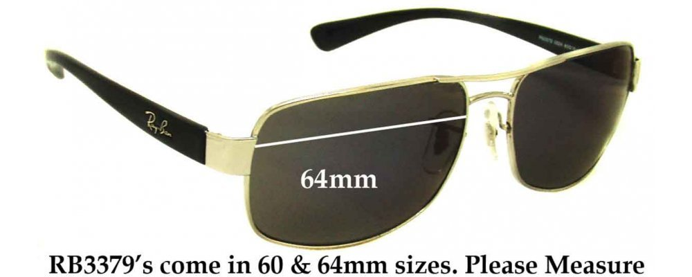 f70e9b635 Sunglass Fix Sunglass Replacement Lenses for Ray Ban RB3379 - 64mm wide