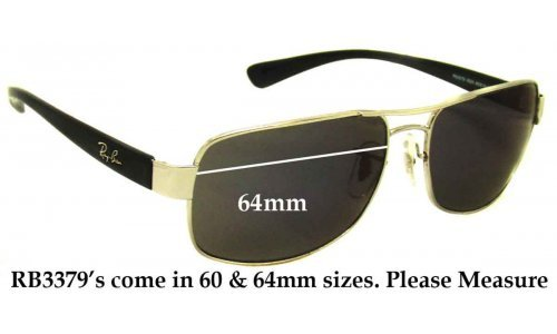 Sunglass Fix Sunglass Replacement Lenses for Ray Ban RB3379 - 64mm Wide