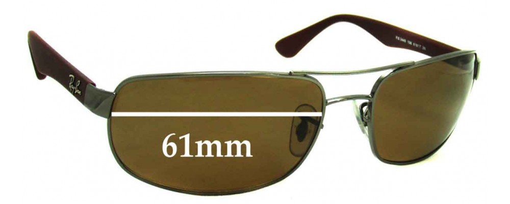 fa77ce863f Sunglass Fix Replacement Lenses for Ray Ban RB3445 - 61mm Wide
