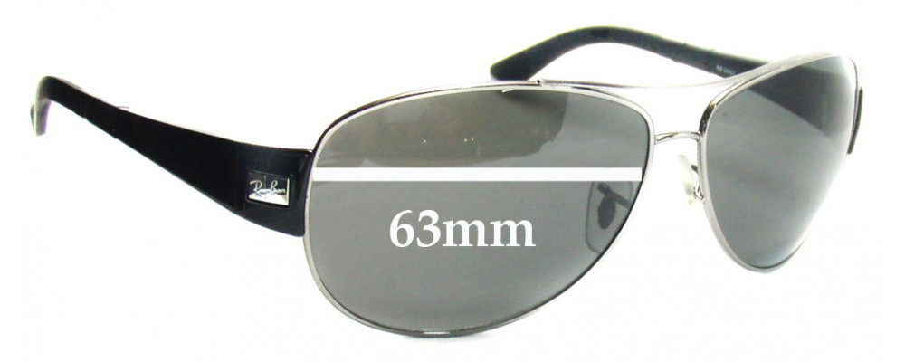 2fc35a53a7 Ray Ban RB3467 Sunglass Replacement Lenses - 63mm across