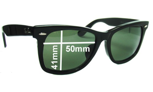"Sunglass Fix Sunglass Replacement Lenses for Ray Ban RB2140 New Wayfarer Outsider 50mm (Rare Model. The words ""NEW WAYFARER"" appear on the right arm)"