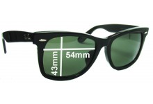 """Sunglass Fix Sunglass Replacement Lenses for Ray Ban New Wayfarer RB2140 - 54mm Wide (Rare Model. The words """"NEW WAYFARER"""" appear on the right arm)"""