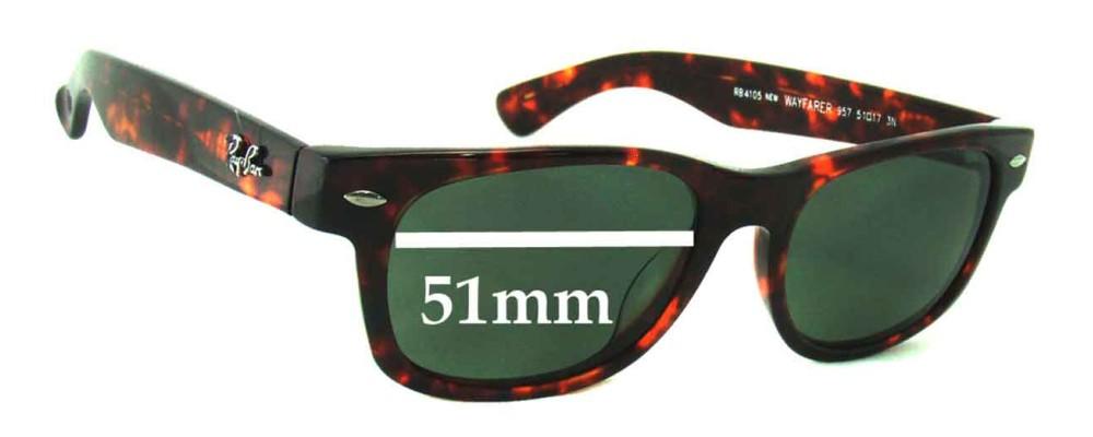 Sunglass Fix Sunglass Replacement Lenses for Ray Ban Wayfarer RB4105 - 51mm Wide