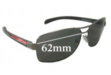 Sunglass Fix Sunglass Replacement Lenses for Prada SPS50L - 62mm Wide