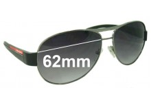 Sunglass Fix Sunglass Replacement Lenses for Prada SPS51L - 62mm Wide