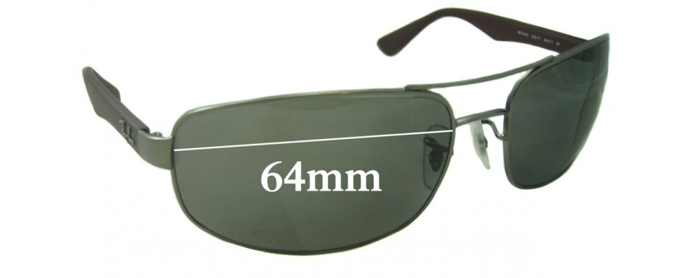 5d0c38cf01bb62 Sunglass Fix Replacement Lenses for Ray Ban RB3445 - 64mm Wide