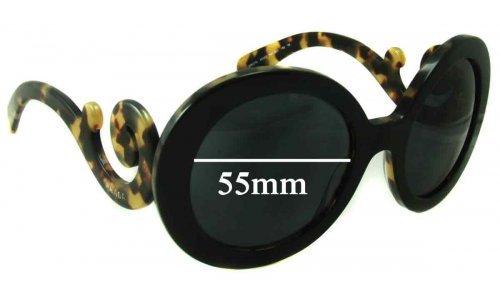 Sunglass Fix Sunglass Replacement Lenses for Prada SPR27N - 55mm wide lens