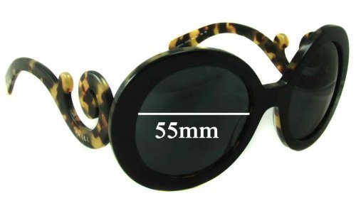 Sunglass Fix Sunglass Replacement Lenses for Prada SPR27N - 55mm Wide