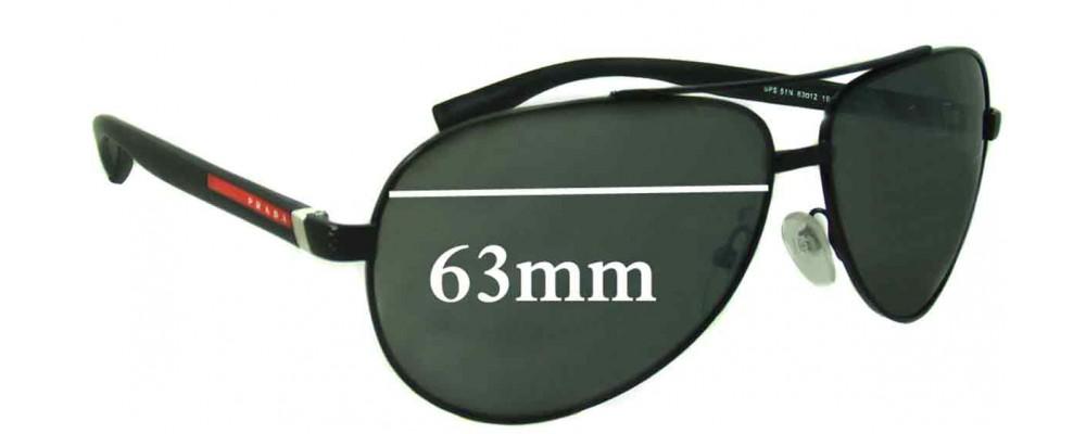 Sunglass Fix Sunglass Replacement Lenses for Prada SPS51N - 63mm Wide