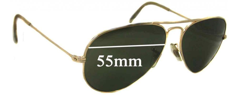 Sunglass Fix Sunglass Replacement Lenses for Ray Ban Aviator L RB3025 - 55mm Wide