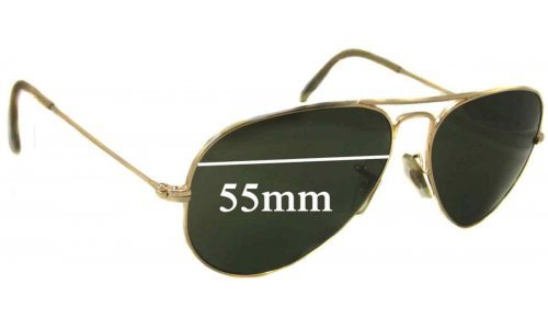Sunglass Fix Sunglass Replacement Lenses for Ray Ban Aviators L RB3025 - 55mm wide
