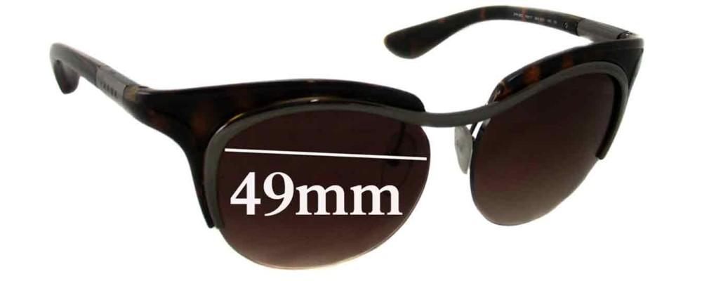 Sunglass Fix Sunglass Replacement Lenses for Prada SPR68O - 49mm Wide