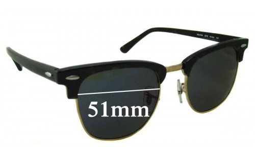 Sunglass Fix Sunglass Replacement Lenses for Ray Ban Clubmaster RB5154 - 51mm wide x 42.5mm high * Please measure as there are multiple sizes *
