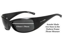 Sunglass Fix Sunglass Replacement Lenses for Arnette Darkness AN4121 (2010 & Newer) - 63mm Wide x 38mm Tall