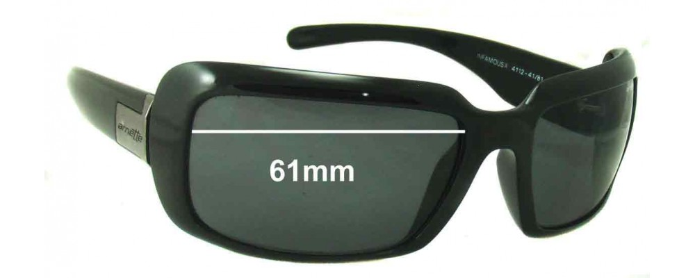 Sunglass Fix Replacement Lenses for Arnette Infamous II AN4112 - 61mm Wide