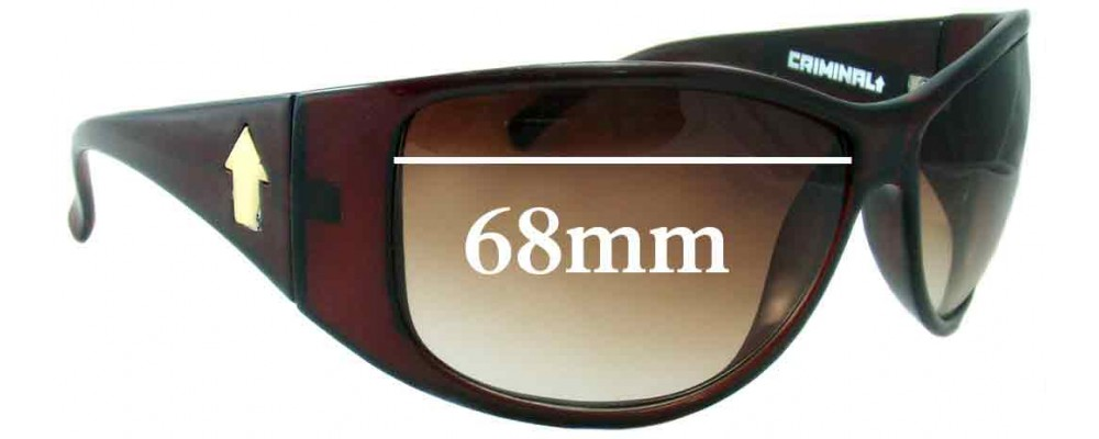 Sunglass Fix Sunglass Replacement Lenses for Criminal Giveme - 68mm Wide