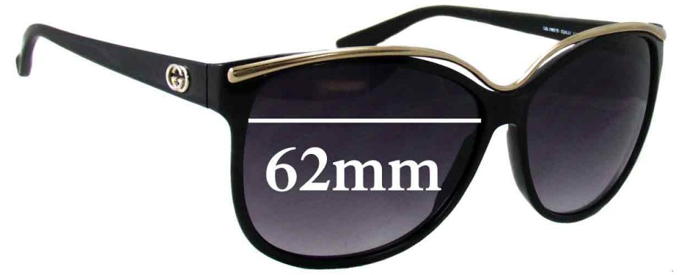 Sunglass Fix Replacement Lenses for Gucci GG3155/S - 62mm Wide