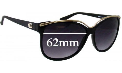 Sunglass Fix Sunglass Replacement Lenses for Gucci GG 3155/S - 62mm Wide