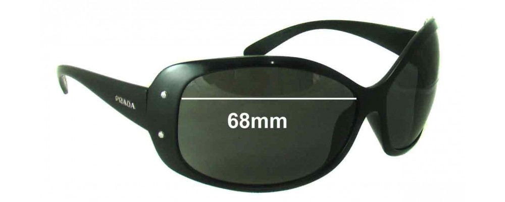 Sunglass Fix Sunglass Replacement Lenses for Prada SPR04F Older Style - 68mm Wide