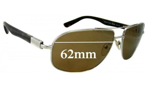 Sunglass Fix Sunglass Replacement Lenses for Prada SPR57N - 62mm wide lens