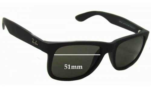 Sunglass Fix Sunglass Replacement Lenses for Ray Ban RB4165 Justin - 51mm wide *Please measure as there are several models*