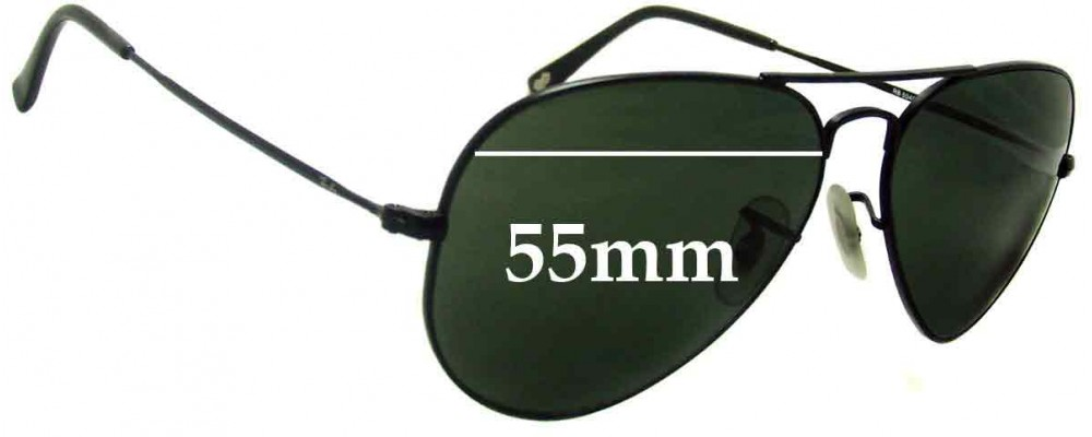 Sunglass Fix Sunglass Replacement Lenses for Ray Ban Aviator RB6049 - 55mm Wide