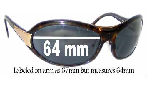Sunglass Fix Sunglass Replacement Lenses for Prada SPR10G - Measures 64mm wide - Labeled 67mm on arm