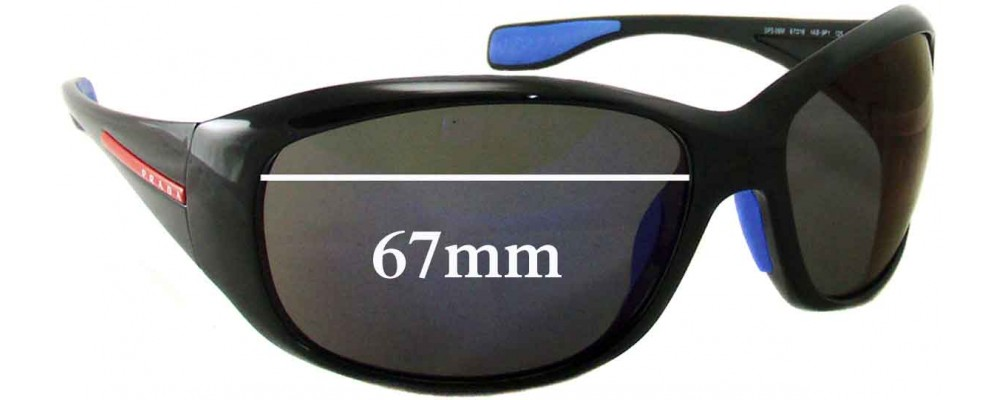 Sunglass Fix Sunglass Replacement Lenses for Prada SPS06M - 67mm Wide
