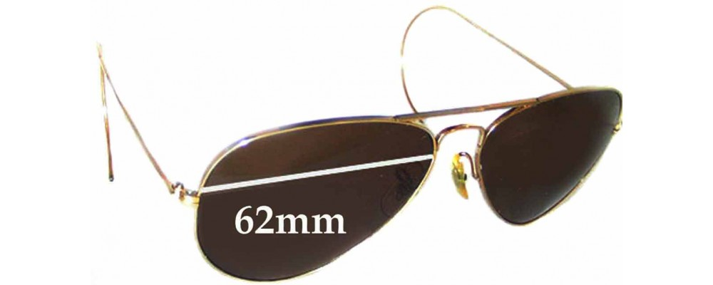 Sunglass Fix Sunglass Replacement Lenses for Ray Ban B&L Aviator USA - 62mm Wide