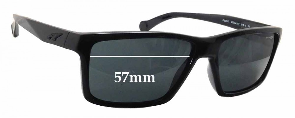 Sunglass Fix Replacement Lenses for Arnette Biscuit AN4208 - 57mm Wide