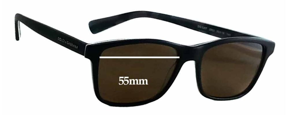 Sunglass Fix Sunglass Replacement Lenses for Dolce & Gabbana DG3207 - 55mm Wide