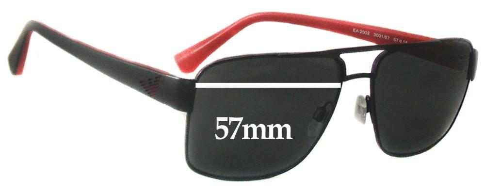 117e1e8b57b3 Sunglass Fix Sunglass Replacement Lenses for EMPORIO ARMANI EA 2002 - 57mm  wide