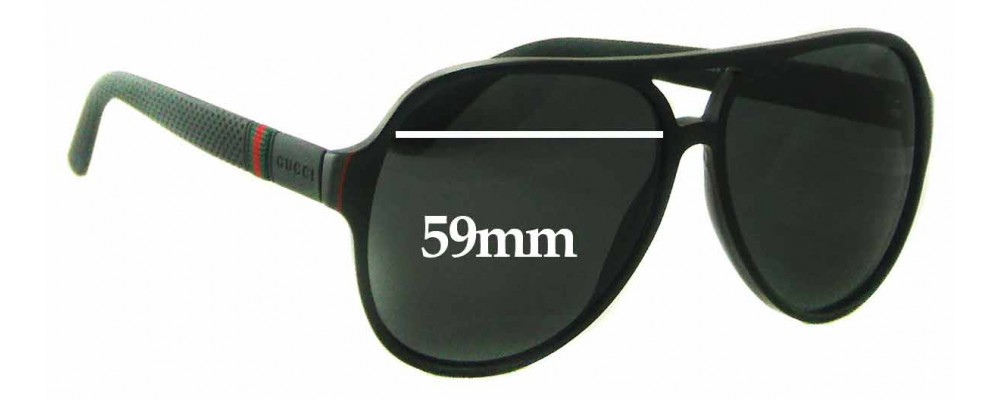 Sunglass Fix Replacement Lenses for Gucci GG1065/S - 59mm Wide
