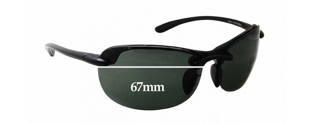 Sunglass Fix Sunglass Replacement Lenses for Maui Jim MJ413 Hanalei - 67mm Wide x 41mm Tall *(Newer Version - Uses Gaskets for Bigger Holes)