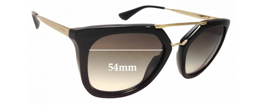 Sunglass Fix Sunglass Replacement Lenses for Prada SPR13Q - 54mm Wide