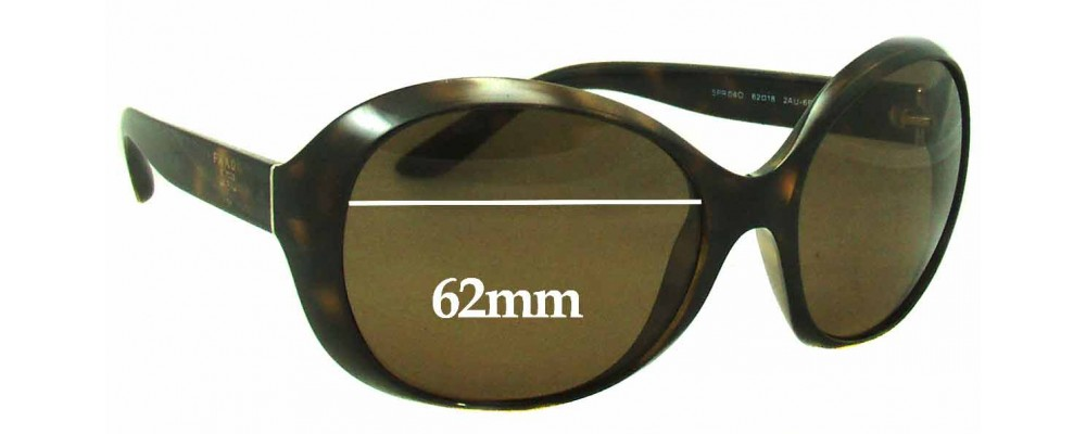 Sunglass Fix Sunglass Replacement Lenses for Prada SPR04O - 62mm Wide