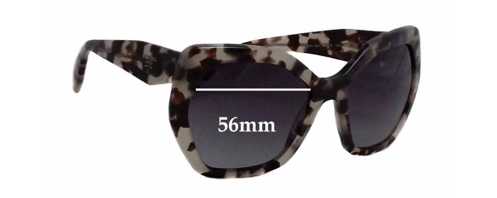 Sunglass Fix Sunglass Replacement Lenses for Prada SPR16R - 56mm Wide
