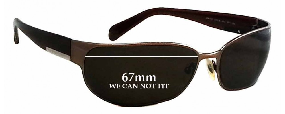 Sunglass Fix Sunglass Replacement Lenses for Prada SPR53F - 67mm Wide - CAN NOT FIT