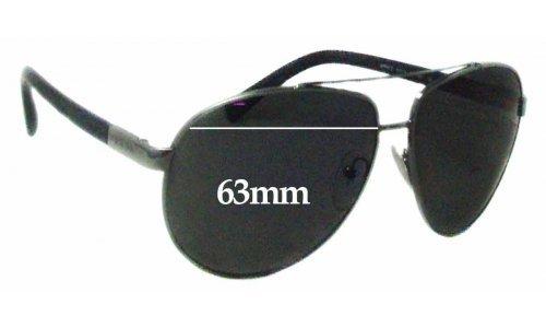 Sunglass Fix Sunglass Replacement Lenses for Prada SPR67O - 63mm Wide