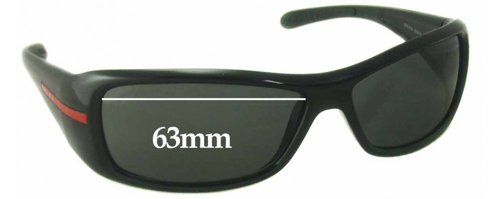 Sunglass Fix Sunglass Replacement Lenses for Prada SPS01G - 63mm Wide