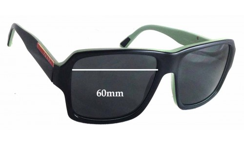 Sunglass Fix Sunglass Replacement Lenses for Prada SPS05L - 60mm wide - 45mm tall