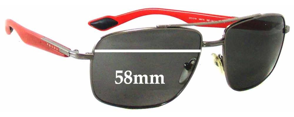 Sunglass Fix Sunglass Replacement Lenses for Prada SPS51M - 58mm Wide