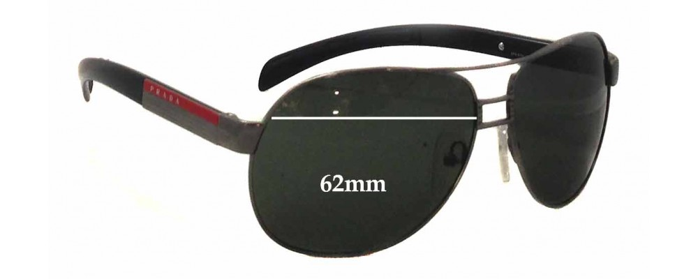 Sunglass Fix Sunglass Replacement Lenses for Prada SPS57H - 62mm Wide