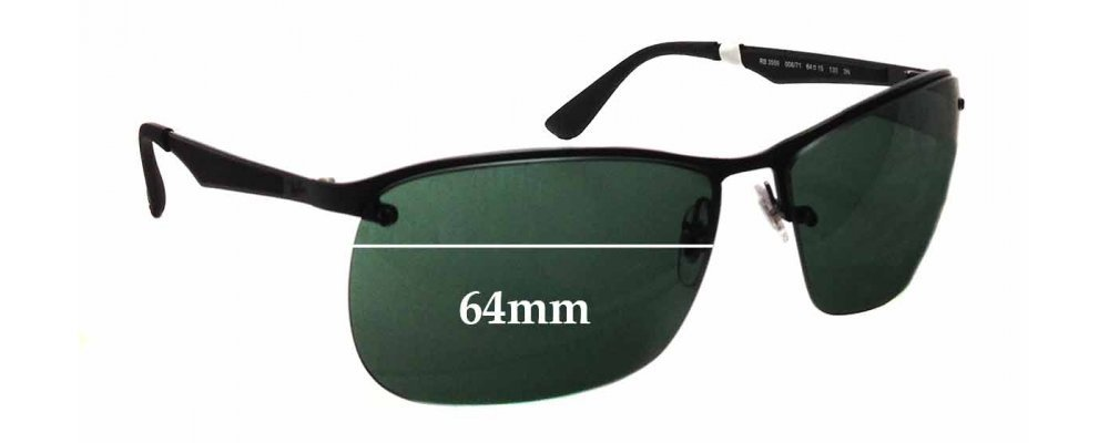 Sunglass Fix Sunglass Replacement Lenses for Ray Ban RB3550 - 64mm Wide