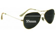 Sunglass Fix Sunglass Replacement Lenses for Ray Ban B&L Aviator RB3025 Large Metal - 55mm Wide